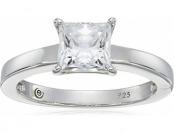64% off Sterling Silver Swarovski Zirconia Princess-Cut Solitaire Ring