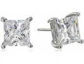 70% off Sterling Silver Swarovski 4 cttw Princess Cut Earrings
