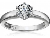 68% off Sterling Silver Swarovski Zirconia Round Solitaire Ring