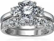 67% off Sterling Silver Swarovski Zirconia Three Stone Ring