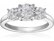 70% off Sterling Silver Swarovski Zirconia 2 cttw Round 3 Stone Ring