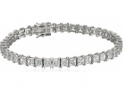 71% off Sterling Silver Swarovski Zirconia Princess-Cut Tennis Bracelet