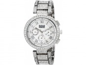 93% off Burgi Women's Crystal Accented Mother-of-Pearl Watch