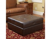 81% off Burlington Brown Leather Storage Ottoman