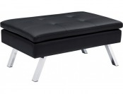 72% off Chelsea Faux Leather Ottoman, Black