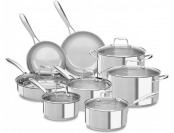 $140 off KitchenAid 14-Piece Stainless Steel (Silver) Cookware Set