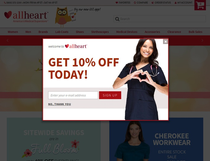 AllHeart Promo Codes All Active AllHeart Coupons & Promo Codes - Up To 20% off in December If you are working as a nurse and need a new uniform for less, you should simply head on over to the AllHeart online store.
