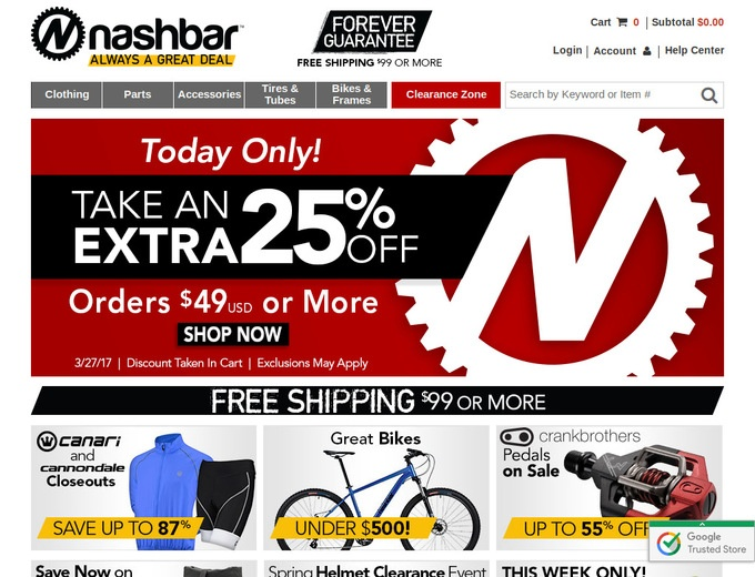 nashbar coupon free shipping