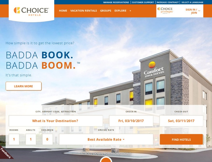 Discounts average $18 off with a Choice Hotels International promo code or coupon. 50 Choice Hotels International coupons now on RetailMeNot.