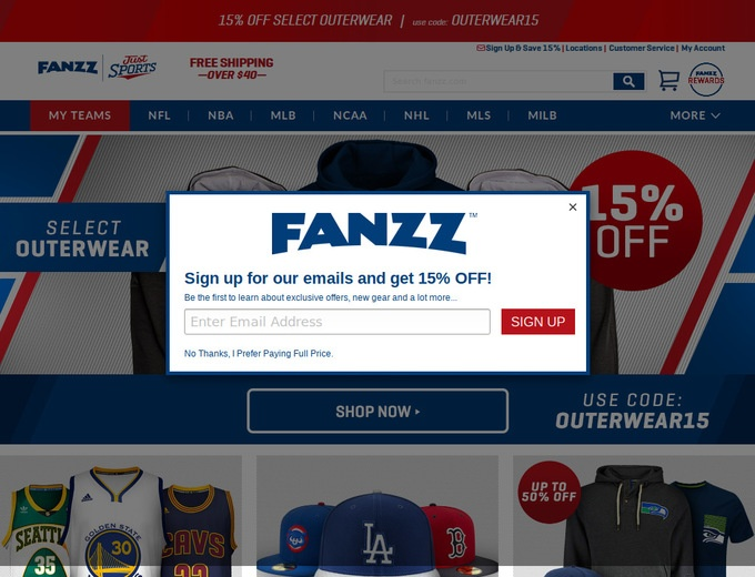Fanzz is the right destination if want to spend less on your favorite sport team apparel! Support your heroes and wear quality clothing! This coupon makes you eligible for 10% discount on all Outerwear!