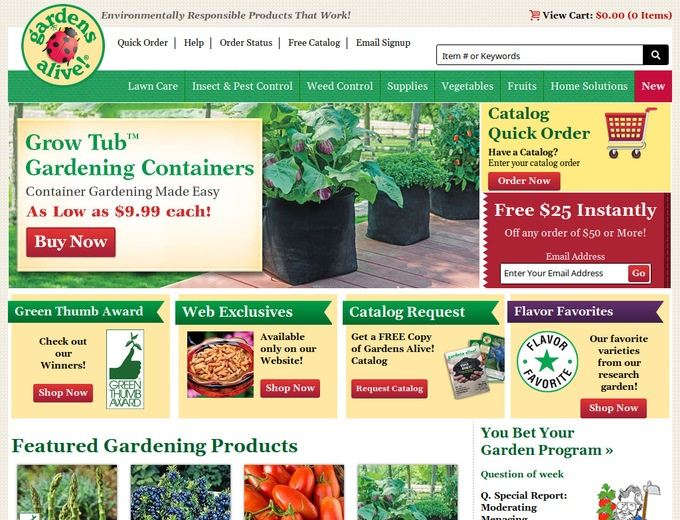 Apply the Gardens Alive Coupon at check out to get the discount immediately. Don't forget to try all the Gardens Alive Coupons to get the biggest discount. To give the most up-to-date Gardens Alive Coupons, our dedicated editors put great effort to update the discount codes and deals every day through different channels.