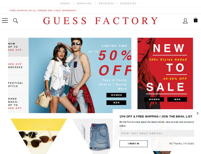 Buy Guess Factory Items Under $80 at Amazon + Free Shipping w/Prime