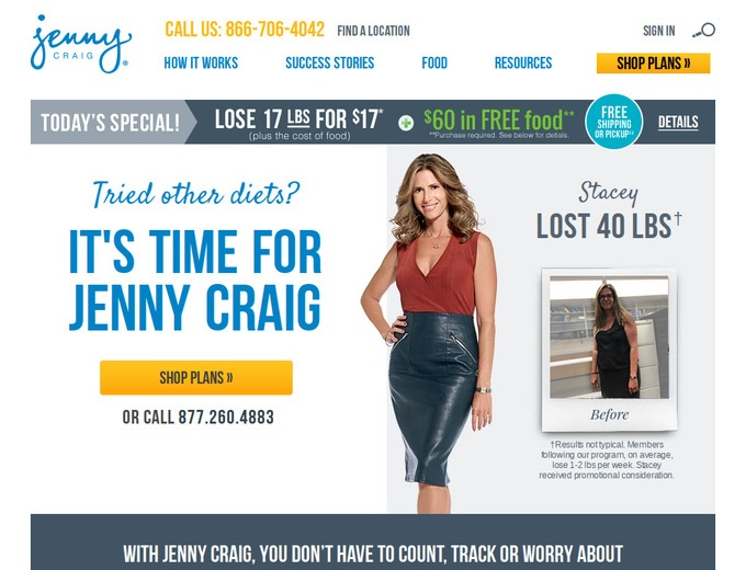 Jenny craig coupons discounts