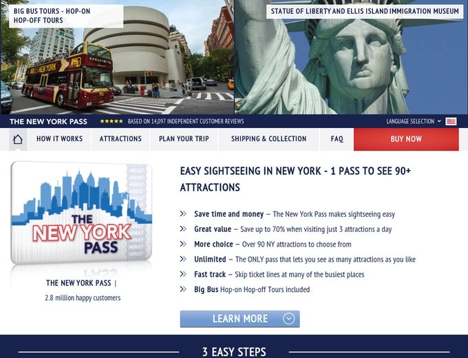 New York Pass gives people free access to over 55 New York Attractions. There are also offers for Bus Tour Packages with the Night Tour, the Brooklyn Tour and the Downtown Tour, amongst others. According to customer reviews the tickets are delivered on time and the prices are very reasonable.