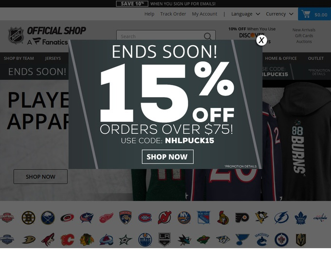 NHL Shop Coupons & Promotional Codes
