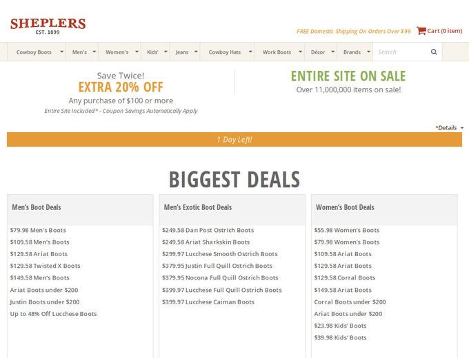 Discount coupons for sheplers