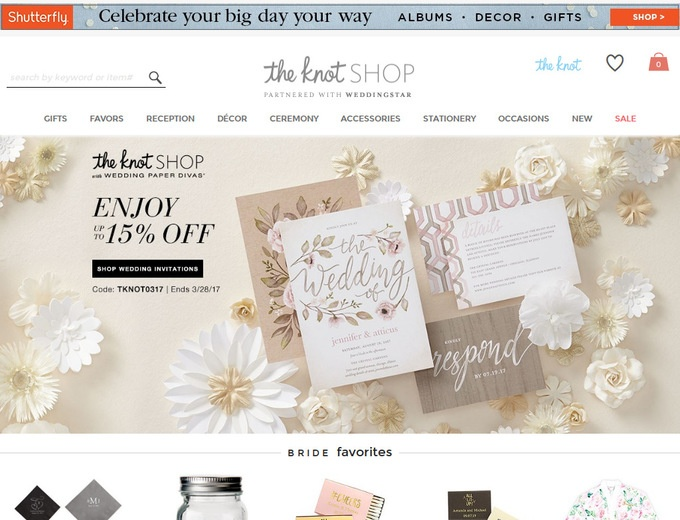 About The Knot Shop. You will be brimming with joy when you get all of your wedding supplies at The Knot Shop. This company sells everything you need to prepare for your big day, including gifts, invitations and items for the ceremony.