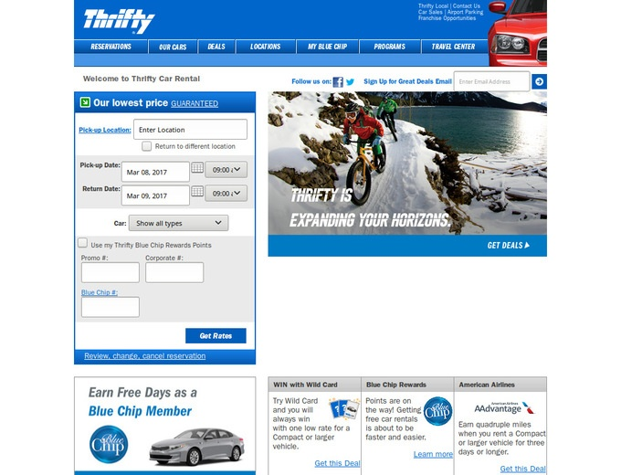 How to use a Thrifty Rent-A-Car coupon Join Thrifty Rent-A-Car's Blue Chip Rewards Program (free) and receive a variety of rental perks - including free car rentals each time you accumulate 16 regular rentals or more with Thrifty.