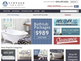 Vintage Tub and Bath Coupon HOW TO USE Vintage Tub & Bath COUPONS. Vintage Tub & Bath sells clawfoot tubs and classic bathroom fixtures as well as many other items, including home, garden, kitchen and bar products. Brands they carry include Bertazzoni, Amba, Randolph Morris, Sunrise Specialty and Bella Casa.